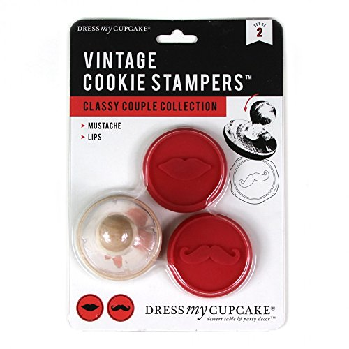 Bakeware Silicone Set Solutions (Dress My Cupcake Vintage Cookie Stampers (Set of 2), Classy Couple Collection Mustache and Lips Interchangeable Cookie Stampers, Red)