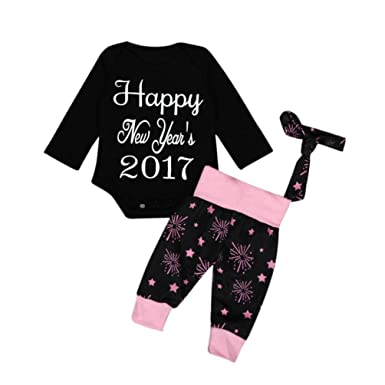 749a5bd0a Amazon.com  Coper 4PCS New Year s Baby Outfits With Romper Pants Hat ...