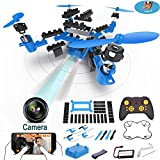 Drone with Camera, RC Drone Block Kits FPV VR Wifi DIY RC Quadcopter Altitude Hold Remote Control Drone with 1MP HD Camera RC Helicopter