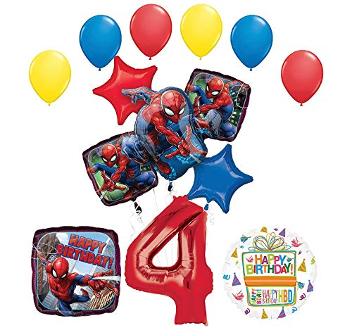 Mayflower Products The Ultimate Spider-Man 4th Birthday Party Supplies and Balloon Decorations -