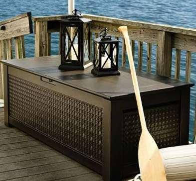 Premium Furniture Outdoor Deck Box, Patio - 136 Gal, Resin, Dark Teak ()
