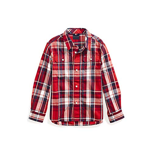 (Tommy Hilfiger Boys' Magnetic Button Shirt, Racing Red Stripe Large)