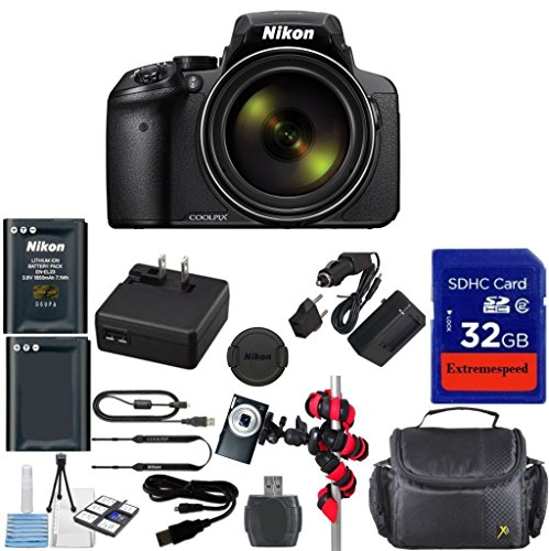 Nikon Coolpix P900 Wi-Fi 83x Zoom Digital Camera + Extra Replacement Battery + Original Accessories + Extremespeed 32GB Commander Memory + Spider Flexible Tripod + Deluxe Carrying Case + 12pc Bundle by Nikon