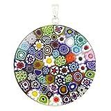 """GlassOfVenice Murano Glass Millefiori Pendant """"Multicolor"""" in Silver Frame 1-1/2"""""""