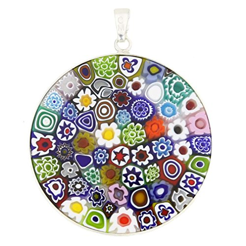 Pendant Glass Millefiori (GlassOfVenice Murano Glass Millefiori Pendant Multicolor in Silver Frame 1-1/2