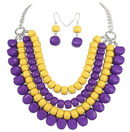 Gypsy Jewels 4 Row Layered Bib Bubble Statement Silver Tone Necklace & Earrings Set (Purple & Yellow) ()