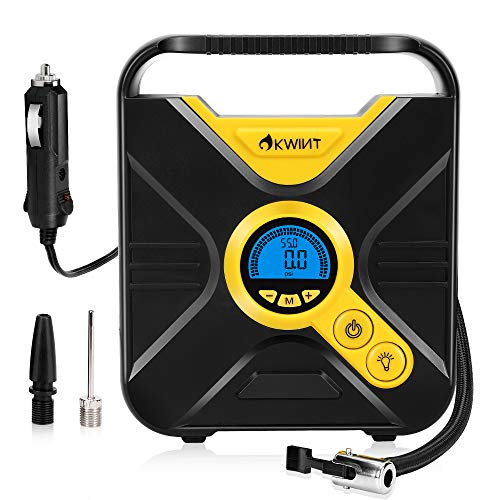 OKWINT Digital Tire Inflator, DC12V 10A, Portable Air Compressor with LED Light, Quick Connect Tire Pump, Auto Shutoff, Fast Inflating, KPS/BAR/PSI/KGF