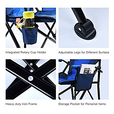 Kamileo Camping Chair, Folding Portable Lawn Chair with Padded Armrest Cup Holder and Storage Pocket (Carry Bag Included) : Sports & Outdoors