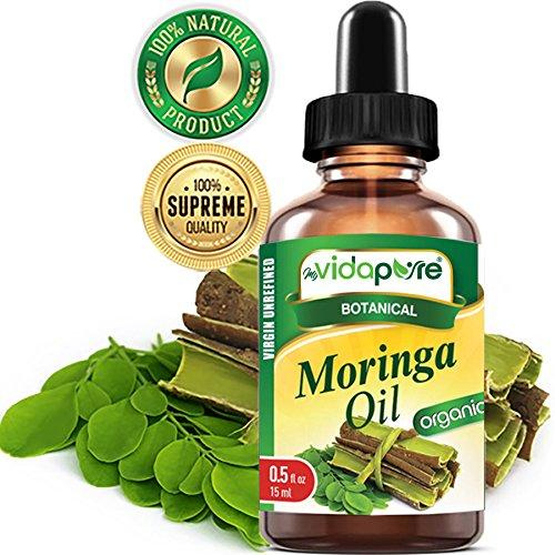 myVidaPure Organic MORINGA OIL WILD GROWTH RAW. Moringa oleifera. PURE, REFINED, Undiluted 0.5 Fl.oz.- 15 ml. For Skin, Face, Hair, Lip and Nail Care.