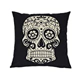 Sunlightsell Stylish Simplicity Cotton Linen Square Decorative Fashion Throw Pillow Case Cushion Cover-Black White Skull 18