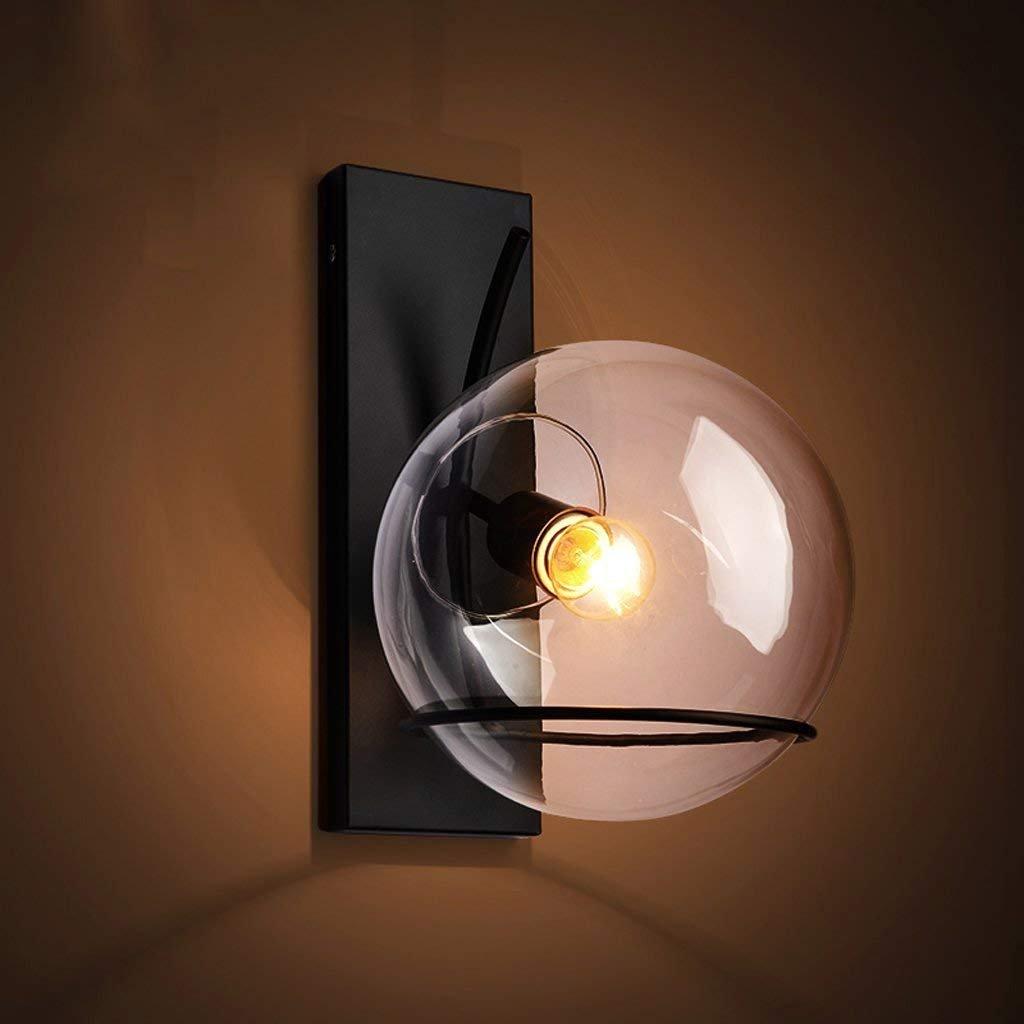 Appliques Rétro Créatif Fer Verre Luminaire Applique Murale Industriel  Style Minimaliste Design Couloir Lampe Murale Pour ...