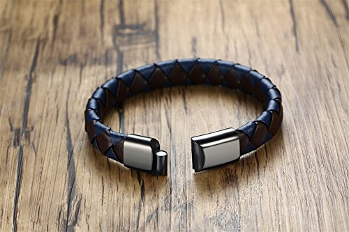 VNOX Personalized Genuine Leather Handmade Braid Magnetic Clasp Cuff Elegant Bracelet,Black&Blue,8.3""