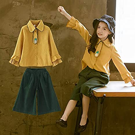Girls Autumn Suit Tide Clothing Childrens Girls Wide Leg Pants Two-Piece Kids