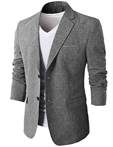 H2H Mens Notch Lapeled Smart Casual Linen Blazer Gray US XS/Asia M (KMOBL0107) by H2H