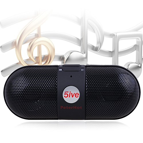 5ive Rechargeable Multi-functions Mini Wireless Bluetooth Active Pill Speaker Support Camera Shooting Selfie Shutter (Black)