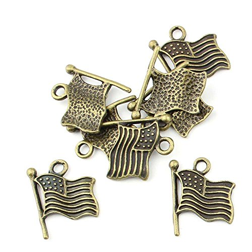 Flag Charm Pendant (10 pieces Anti-Brass Fashion Jewelry Making Charms 1637 American Flag Stars and Stripes Wholesale Supplies Pendant Craft DIY Vintage Alloys Necklace Bulk Supply Findings)