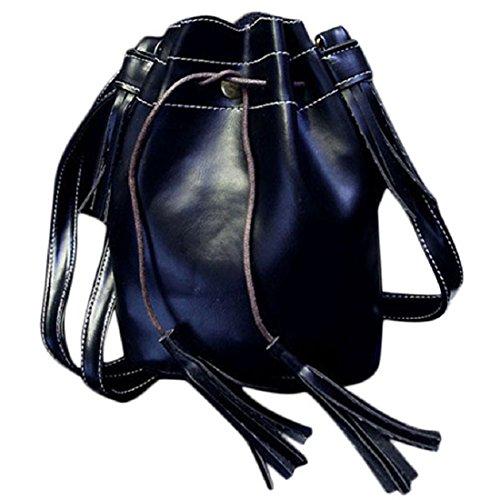 Mujer Bolso de Hombro - SODIAL(R) Mujer borla con cordon bolso del cubo Bolsa de vagabundo hombro bolso de mano (Verde) Negro