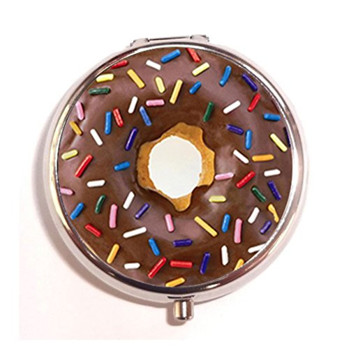 Donut Covered with Chocolate and Colorful Sprinkles Custom Unique Silver Round Pill Box,Stainless Steel Pill Case Vitamins Organizer or Jewelry Box,Coin Purse