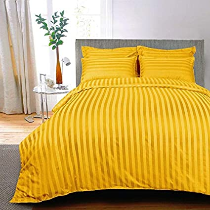 AVI Premium 310 TC Stripes 100% Cotton King Size Bed Sheet with Set of 2 Classic Standard Size Pillow Cover- Golden (108x108 Inch)