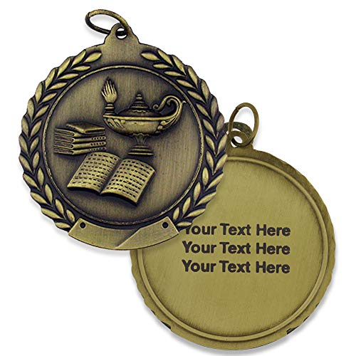 PinMart 1st Place Gold Lamp of Knowledge Award Medal Personalized Engraved Custom