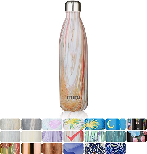 MIRA Vacuum Insulated Travel Water Bottle | Leak-proof Double Walled Stainless Steel Cola Shape Sports Water Bottle | No Sweating, Keeps Your Drink Hot & Cold | 25 Oz (750 ml) | Sunset
