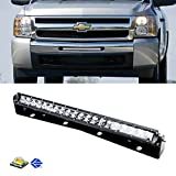 """iJDMTOY Complete Lower Bumper Grill Mount 20"""" 100W High Power LED Light Bar System Combo For 2011-2013 Chevrolet Silverado 1500 or 2007.5-2010 2500HD 3500HD"""