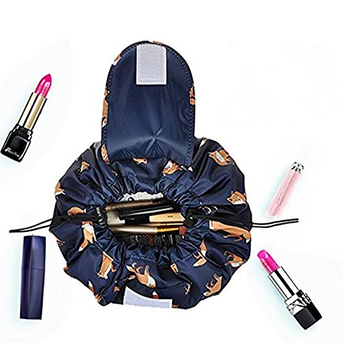 Fashion Cosmetic Bag Large Capacity Lazy Makeup Waterproof Toiletry Bag Multifunction Storage Portable Quick Pack Travel Bag (Dark Blue Fox)