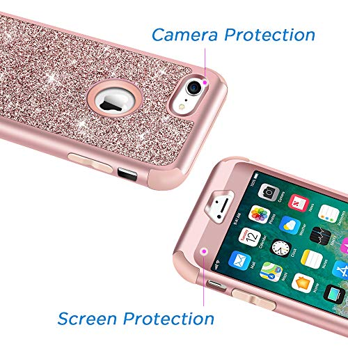 Hython Designed for iPhone 8, iPhone 7 Case, Heavy Duty Full-Body Defender Protective Case Bling Glitter Sparkle Hard…