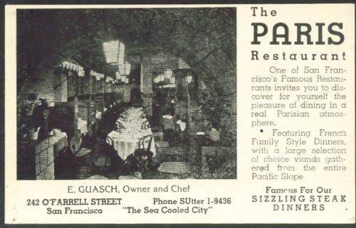 Paris Restaurant 244 O'Farrell Street San Francisco CA postcard - Francisco O San Farrell Street