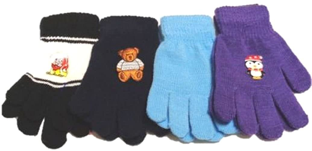 Set of Four Pairs One Size Magic Gloves for Infants and Toddlers Ages 1-4 Years