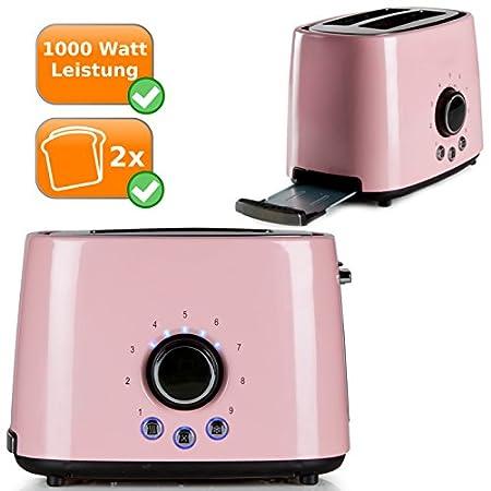 Edelstahl Retro-Toaster für zwei Toast-Scheiben pastell-rosa