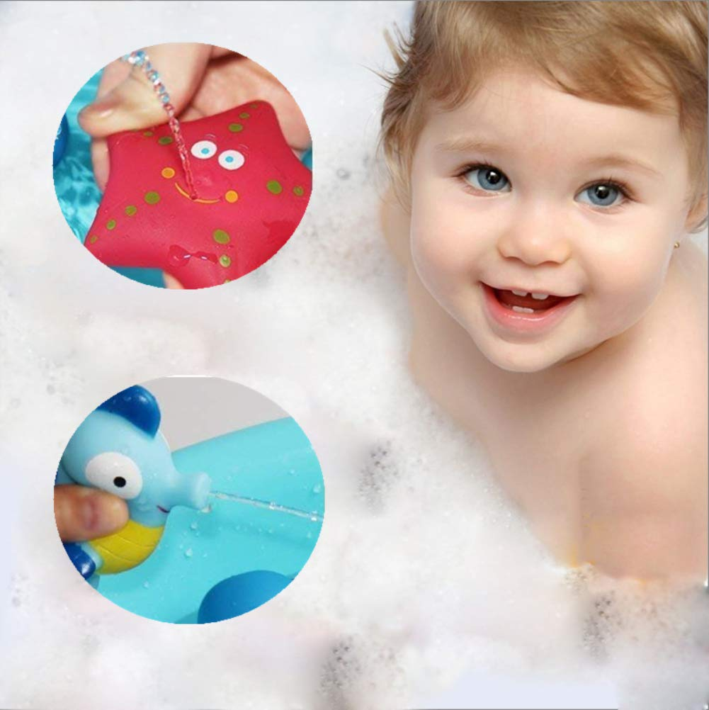 Baby Soft Squirt Bathing Toys Bathtub Cartoon PU Rubber Ship Water Game Learning Educational Toy For Kids Toddlers DQTYE 6Pcs Bath Toy Floating Boats