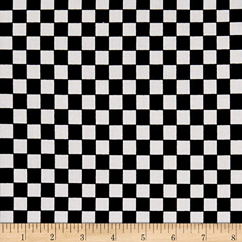 Santee Print Works Racing Check Mini Black/White Fabric by The Yard