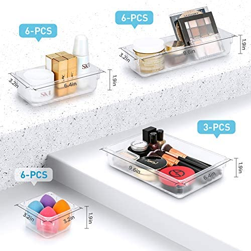 Kootek 21 Pcs Desk Drawer Organizer Trays 4-Size Bathroom Drawer Tray Plastic Storage Organizers Bins Customize Layout Dividers for Cosmetic Makeup Dresser Kitchen Flatware Cutlery Office Accessories 51O3vW78SqL