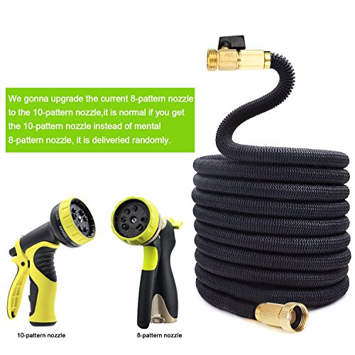 Durable Heavy Duty Expandable Strongest Garden Water Hose with Solid Brass Connector and Zinc Alloy 8 function Spray Nozzle for Plants, Cleaning Windows, Washing Cars, Dogs - 50Ft, Black