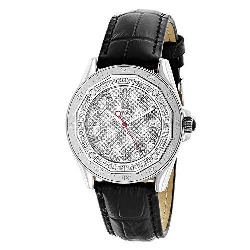 Centorum Watches: Iced Out Designer Diamond Watch 0.5ct w Black Leather Band - 51O3vd4ZYuL - Centorum Watches: Iced Out Designer Diamond Watch 0.5ct w Black Leather Band