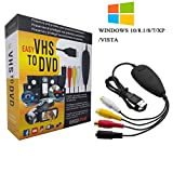 [2018 Updated] VHS to Digital Converter for Windows 10,USB2.0 Video Audio Capture Card