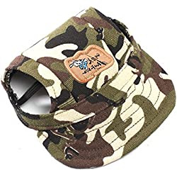 Happy Hours® Dog Hat With Elastic Leather Chin Strap Ear Holes Visor Cap Puppy Pet Baseball Outdoor Sun Hat Oxford Fabric Canvas Sunbonnet 6 Colors 2 Sizes Available (Camouflage, Size S)