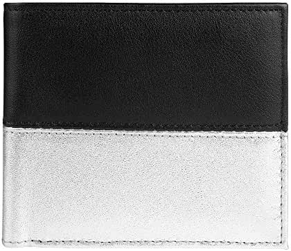 Slim Leather Wallet,Black Head Unisex Style Bifold Wallet,Designed by Independent Designer