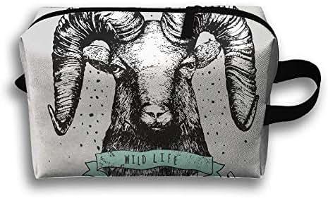 Gsodjsa Mini Death Texas Bull Tamed Travel Wash Bag Male Waterproof Portable Business Travel Storage Bag Female Cosmetic Bag