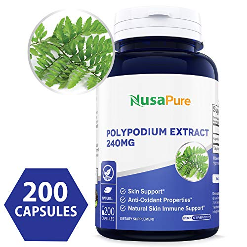 (Pure Polypodium Leucotomos Extract 240mg 200 Veggie Capsules (100% Vegetarian, Non-GMO & Gluten Free) Antioxidant Properties, Natural Skin Care Supplement - Made in USA - 100% Money Back Guarantee!)