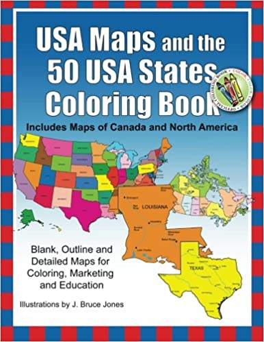 Amazoncom USA Maps And The USA States Coloring Book Includes - Usa map canada