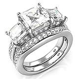 Sz 8 Sterling Silver 3 Carat Princess Cut Cubic Zirconia CZ Wedding Engagement Ring Set