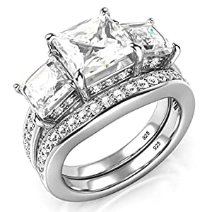 Amazon.com: Sterling Silver 3 Carat Princess Cut Cubic