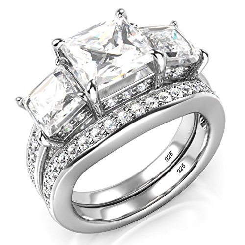 Sz 7 Sterling Silver 3 Carat Princess Cut Cubic Zirconia CZ Wedding Engagement Ring Set
