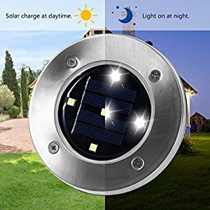 YUNLIGHTS 4Pcs 5 LED Solar Garden Light Waterproof Solar Ground Lights Dark Sensing Landscape Lights for Lawn Pathway Yard Driveway Patio Walkway Pool Area, White