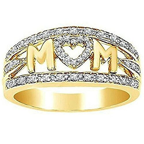 Jude Jewelers Rhodium Plated Mom's Ring Mother's Day Birthday Gift (Gold, 8)