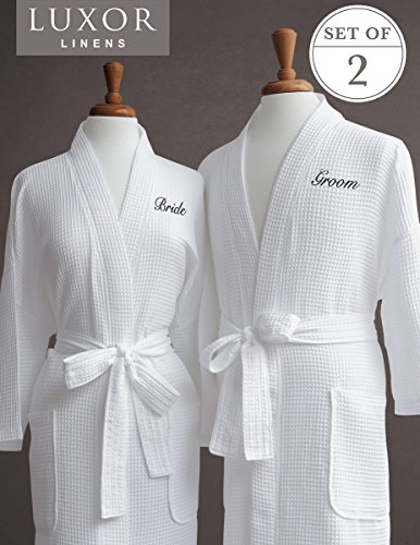 Bath Groom Bride - Luxor Linens Egyptian Cotton Waffle Weave Robe with Bride/Groom Couple's Embroidery, Black Monogram