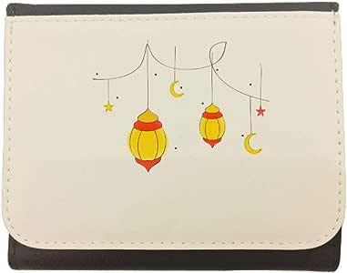 محفظة جلد  بتصميم فوانيس رمضان ، مقاس 12cm X 10cm