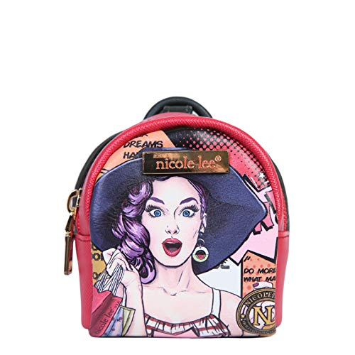 Mini Printed Backpack Zipper Key Chain Fashion Accessory For Women (Wow It's Lucy) (Nicole Lee Handbags And Purses)